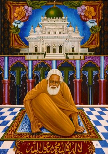 A portrait of Haji Waris Ali of Dewa (Uttar Pradesh), seated before his shrine. Artist and publisher unknown, circa 1995.