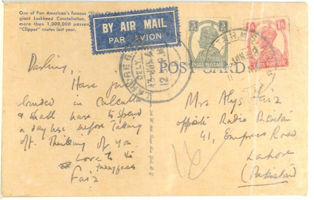 A postcard from Faiz to his wife Alys