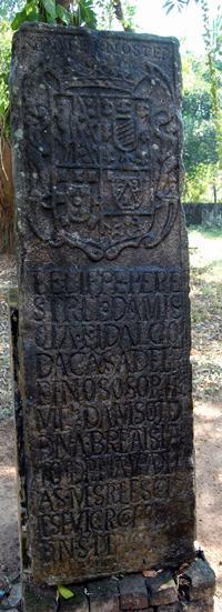Felipe Perestrelo de Mesquita's gravestone at Thrissur. Image / N P Chekkutty
