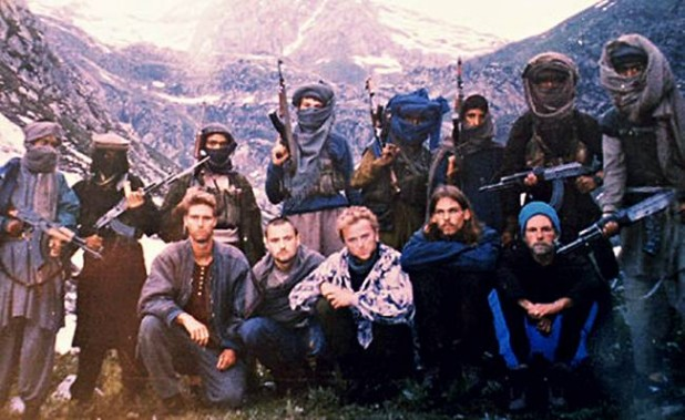 The hostages: seated left to right, Keith Mangan (UK), Dirk Hasert (Germany), Hans Christian Ostroe (Norway), Paul Wells (UK) and Donald Hutchings (USA), in a picture released by the Kashmiri militants.