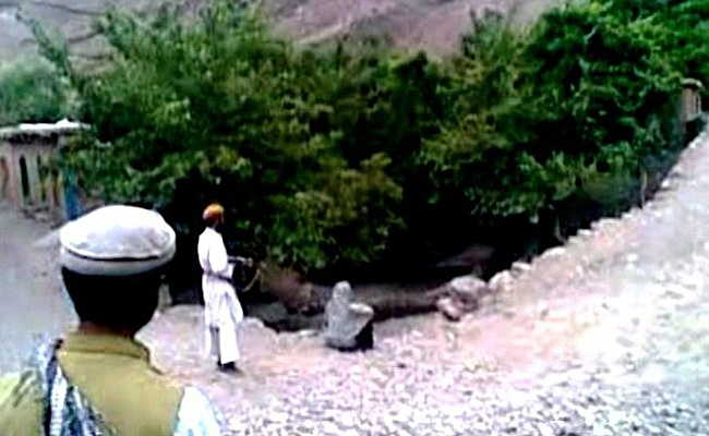 Screenshot from the video of Najiba's execution by the Taliban in early-July.