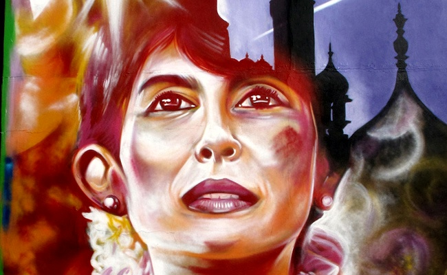 A mural of Aung San Suu Kyi in Brighton, UK. Photo: duncan, flickr
