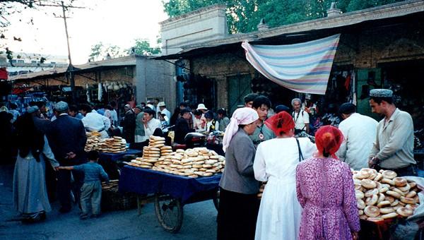 A bazaar in Kashgar, East Turkestan