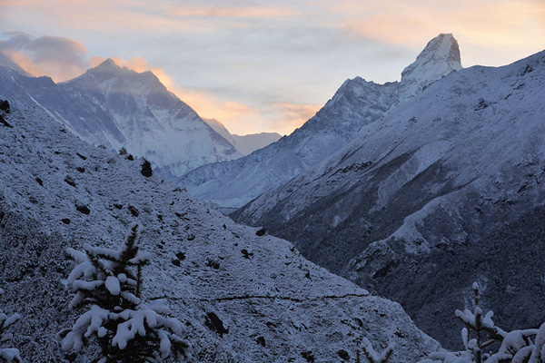 Sagarmatha National Park after snowfall, looking towards the Khumbu valley.  Photo:  Davide Zanchettin