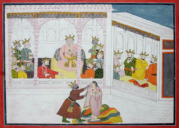 "Caption: ""Dunyodhana tries to remove Draupadi's clothing"" Credit: The San Diego Museum of Art/ Flickr"