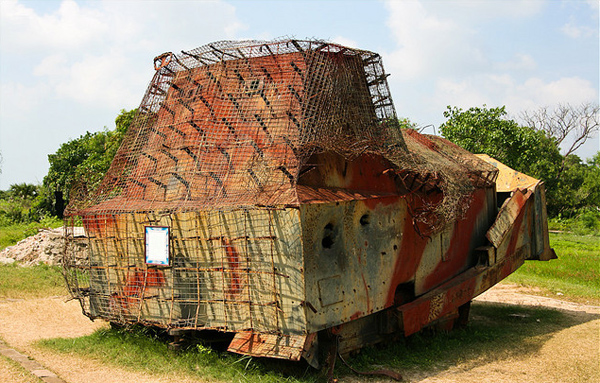 A bulldozer covered with armour plates in the military's war memorial at Elephant Pass, Jaffna. Photo: Flickr / koolb