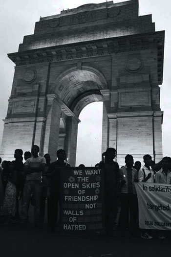 A candlelight vigil at India Gate in the aftermath of the 2012 communal violence in Assam, which was fuelled, in part, by social media. Photo: Flickr / Joe Athialy