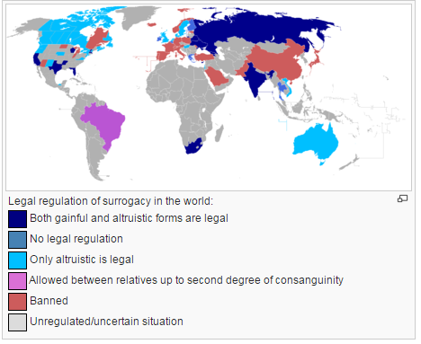 Status of legality of surrogacy in the world. (Source: Wikipedia)