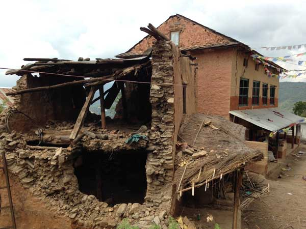 A house destroyed by the earthquake in Lamagaun, Nagarkot. All photos by Rudra Rakshit.