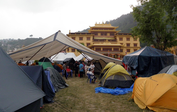 Relief camp at Yellow Gompa, Kathmandu. Photo: Abhimanyu Pandey