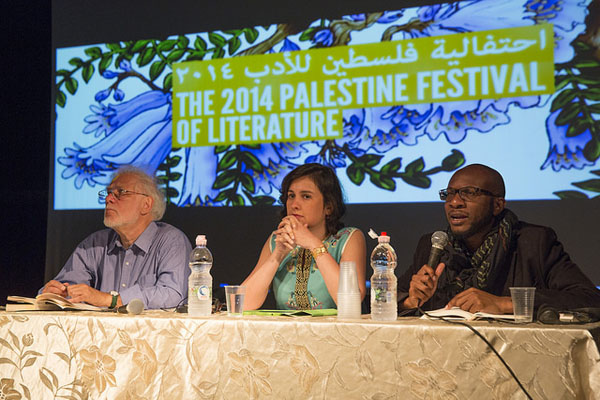 Kamila Shamsie (centre), with writers Michael Ondaatje (left) and Teju Cole (right), at the 2014 Palestine Festival of Literature in Haifa, Palestine. Photo: Flickr / Palfest