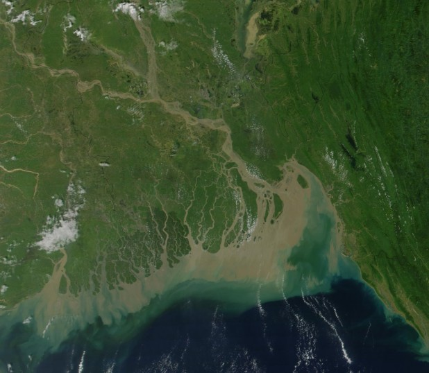 A satellite image of Ganges River Delta Photo : Wikimedia Commons