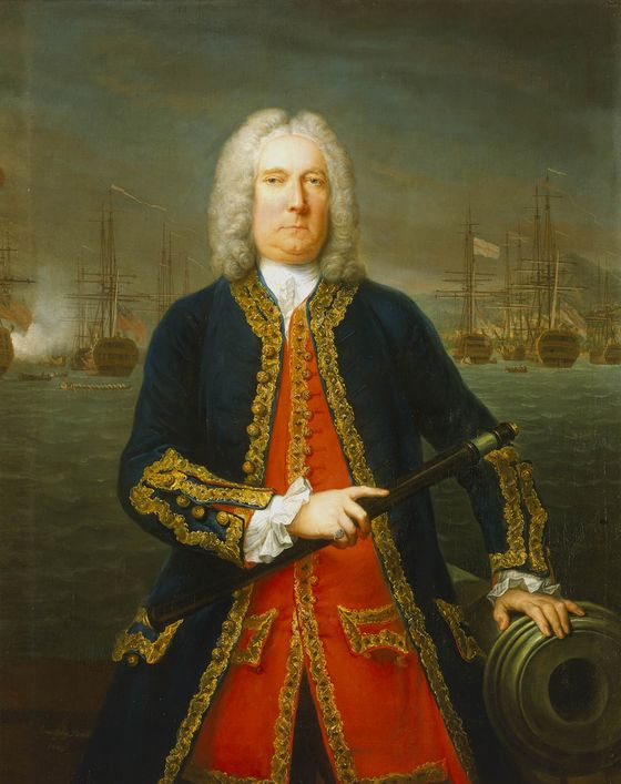 A painting of Commodore Thomas Matthews. Katharine took refuge in Commodore Mathews's ship, the Lyon, to escape the East India Company Photo : Wikimedia Commons / Claude Arnulphy - The National Maritime Museum