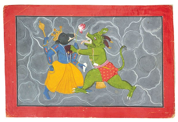 Varaha coolly saves the world, fighting off the demon Hiranyaksha. Image: Attributed to Manaku (active 1725–60 CE)