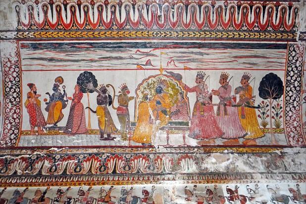 Mural in Raj Mahal Palace, Orchha Photo : Wikimedia Commons / dalbera