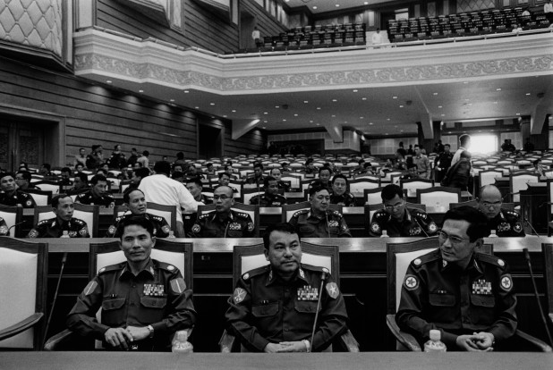 The unelected in Burma's new parliament. Military commanders take their positions in the new parliament building. The Pyithu Hluttaw, or the lower house of Burma's parliament, was dominated by former soldiers, their positions guaranteed under a constitution which was ratified after a fraudulent referendum in 2008.