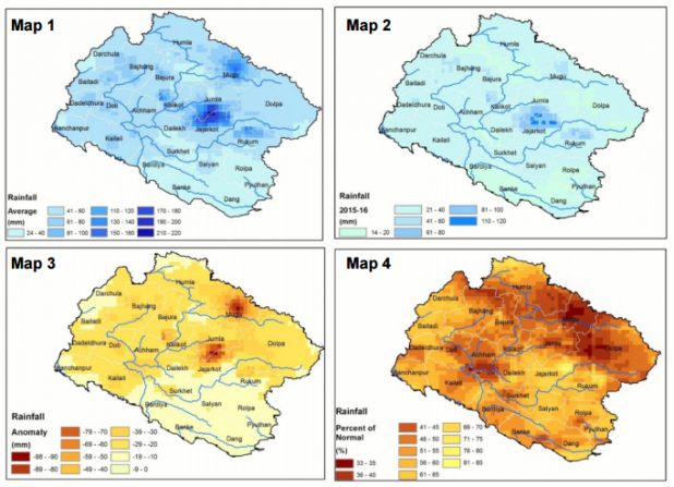 Map 1: 30 years average winter rainfall (November to January); Map 2: Rainfall between November 2015 and January 2016. Map 3: Rainfall deficit in 2015-16 winter season. Map 4: Percent difference in winter rainfall (2015 to 2016) compared to 30-year average. (Source: ICIMOD)