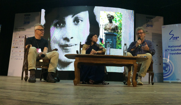 Shrabani Basu in conversation with author Sebastian Faulks (far right) on a panel moderated by Chris Hanley.