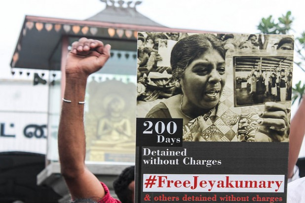Jeyakumari Balendran, an activist campaigning for the whereabouts of missing persons in Sri Lanka, was detained by officers of the Terrorist Investigation Division (TID) in March 2014. Photo: Vikalpa | Groundviews | Maatram | CPA / Flickr