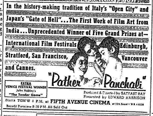 'The First Work of Film Art from India' – advertisement for Pather Panchali in New York Herald Tribune, 21 September 1958. All photos courtesy of the writer.