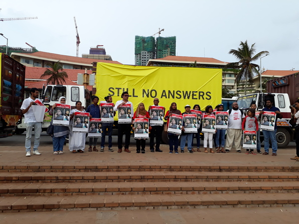 Activists and famlies of disappeared persons from around Southasia gather in Colombo on 28 August 2018, ahead of the International Day of the Disappeared.