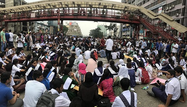 Students organise a sit-in to block roads. Photo: Wikimedia