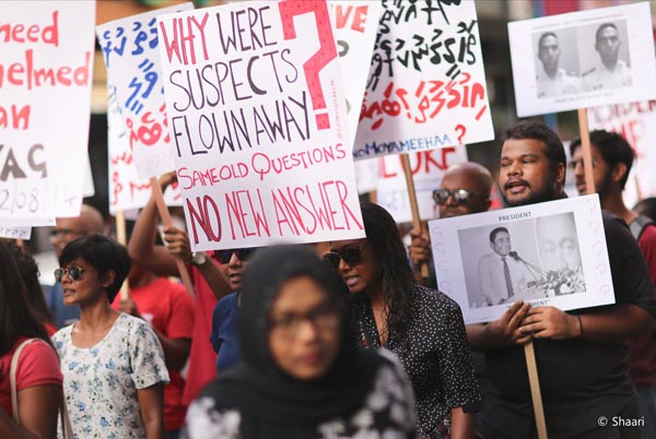 The fourth annual Suvaalu (Question) march on 8 August 2018 marked exactly 1461 days since Ahmed Rilwan was last heard from. Photo: Shaari