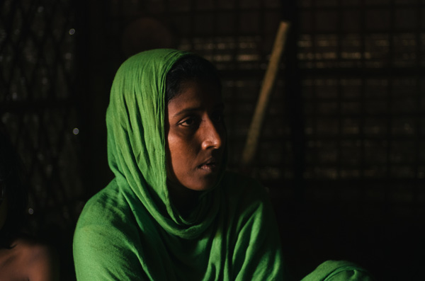 Murjina in 2018, in a new home she is rebuilding with other Rohingya women whose husbands have left Bangladesh for Malaysia. She had managed to borrow the money for her husband's ransom and is still paying back the debt.
