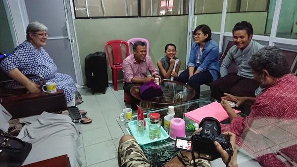 CEO Soe Myint (second left) and Mizzima team with Ishamudin. Photo: Sebastian Hongray.