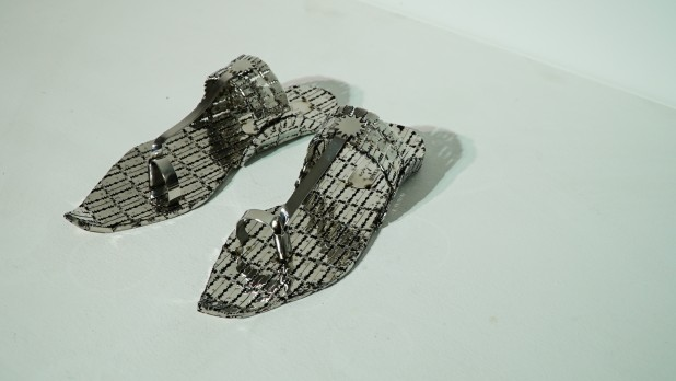 Tayeba Begum Lipi, My Leather Slippers, Stainless Steel. Courtesy Shrine Empire